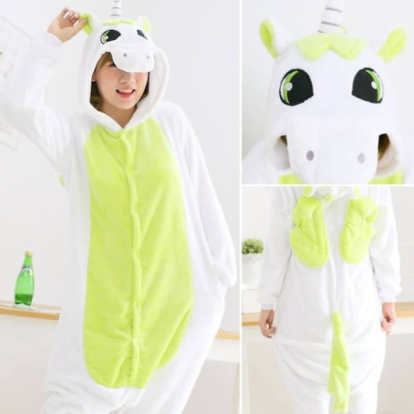Green Unicorn Pajamas Onesies Adult Women Men Winter Warm Flannel