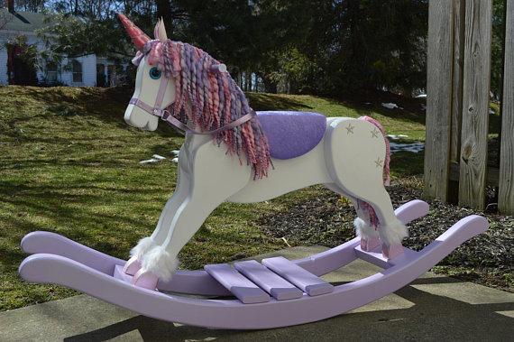 Handmade Rocking Unicorn, Unicorn Rocking Horse, Nursery Furniture