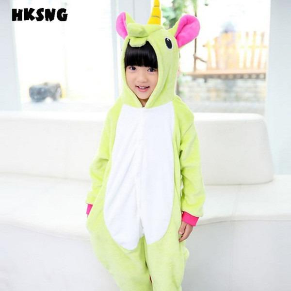 Hksng Kids New Blue Green Unicorn Pajamas Winter Flannel Animal