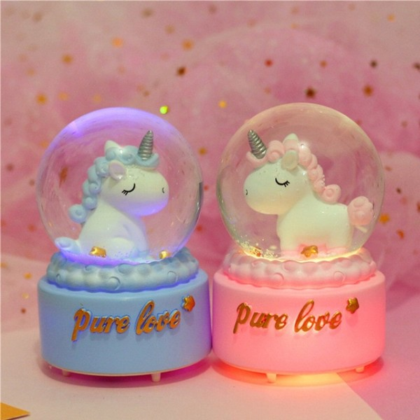 Ins Unicron Music Box Unicorn Crystal Ball Rotated With Lights
