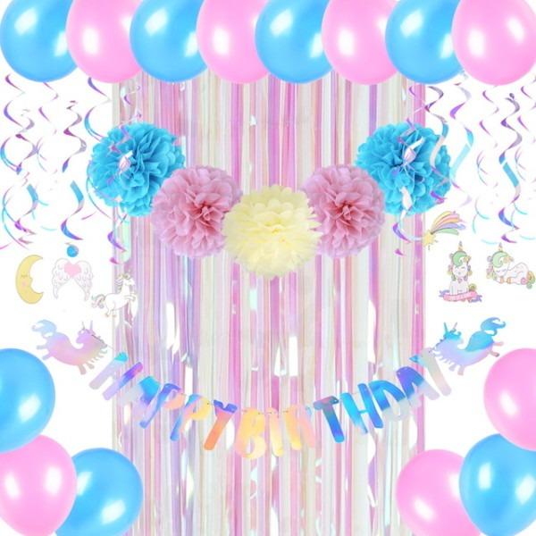 Iridescent Unicorn Birthday Decorations Rainbow Happy Birthday