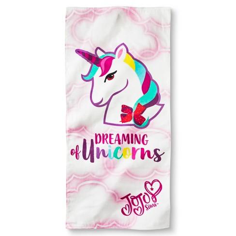 Jo Jo Dreaming Unicorns Beach Towel White Pink