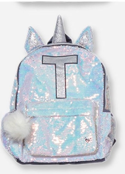 Justice Backpack Sequin Unicorn Letter Initial T For Sale Online