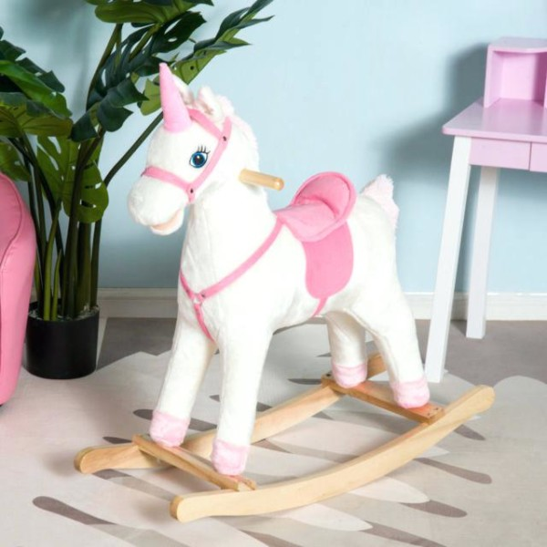Kids Plush Rocking Horse Unicorn Ride On Toy Toddler Rocker Chair