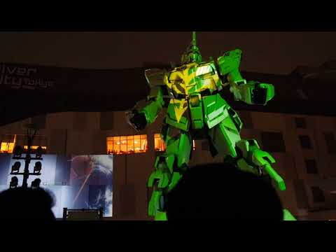 Live Show Gundam Unicorn Statue Odaiba By Night