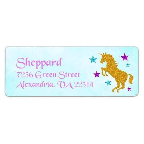 Magical Unicorn Faux Glitter Return Address Labels