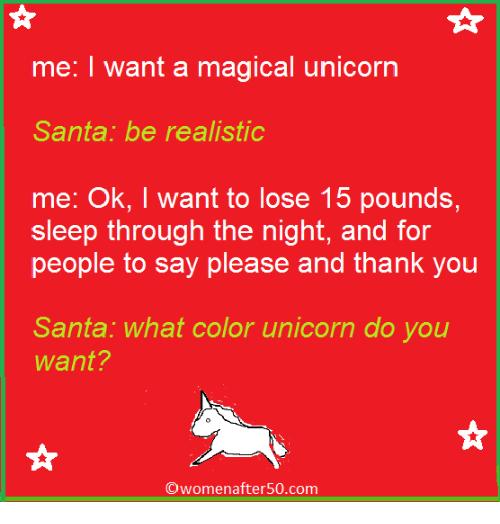Me I Want A Magical Unicorn Santa Be Realistic Me Ok I Want To