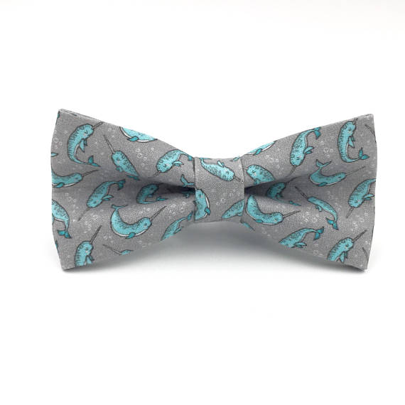 Mens Bowtie, Gray And Aqua Narwhal Bow Tie, Unicorn Of The Sea