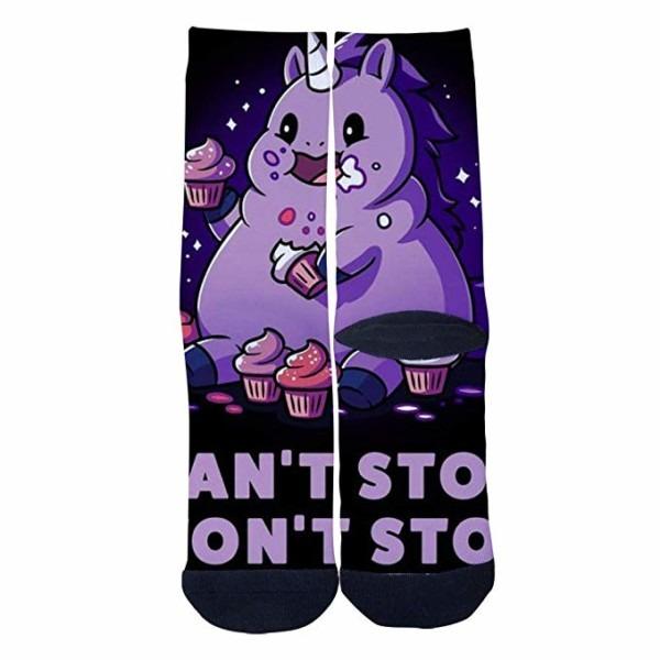 Mens Womens Personality Greedy Unicorn Socks Crazy Custom Socks