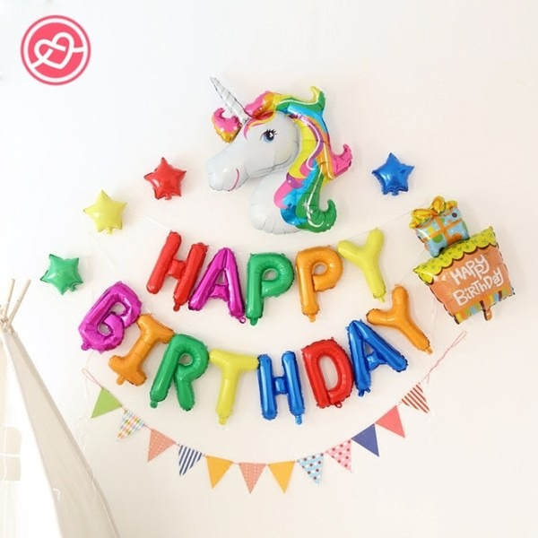 New 19 Pcs Lot Colorful Unicorn Balloons Party Happy Birthday Suit
