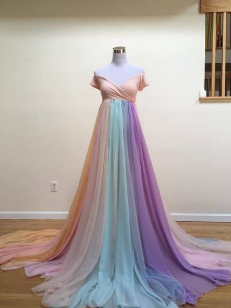 Pastel Rainbow Maternity Gown, Rainbow Baby Dress, Rainbow