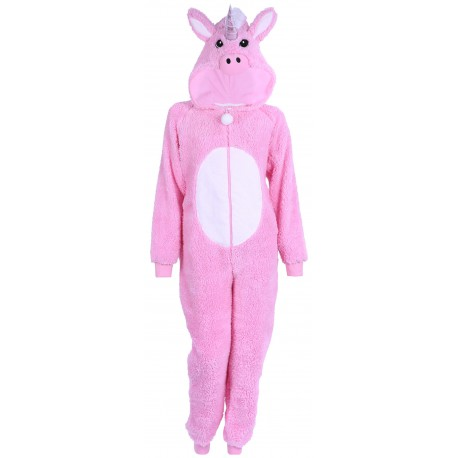Pink, All In One Piece Pyjama, Onesie For Ladies Unicorn