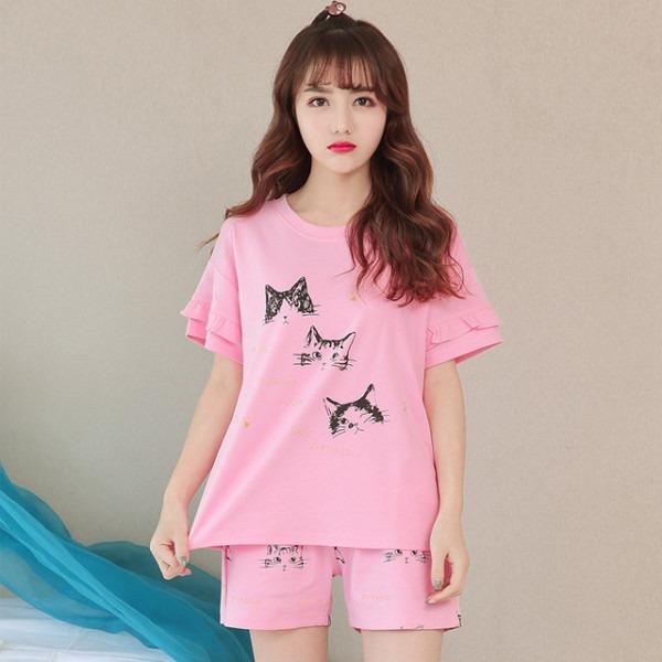 Pink Unicorn Pajamas Sets Women 2 Pieces Set Crop Top + Shorts