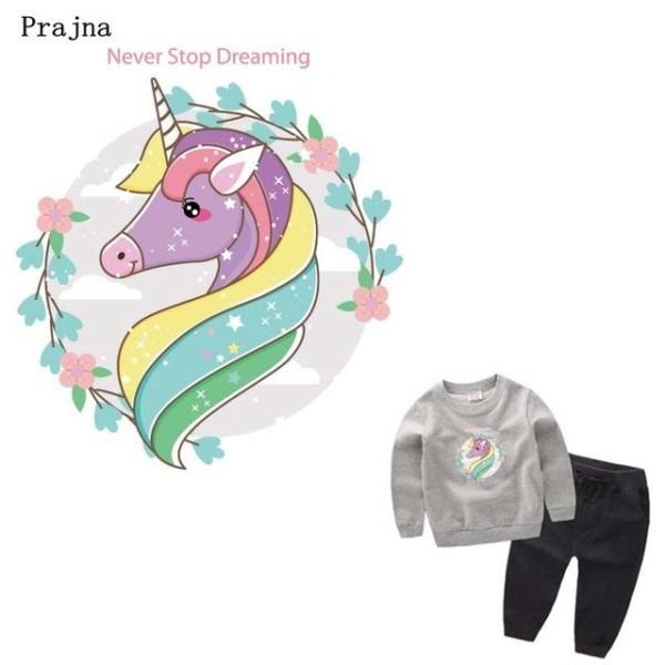 Prajna Flower Unicorn Transfers Cartoon Patches For Kids Clothes