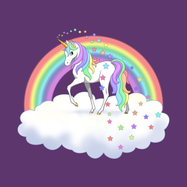Pretty Rainbow Unicorn And Stars