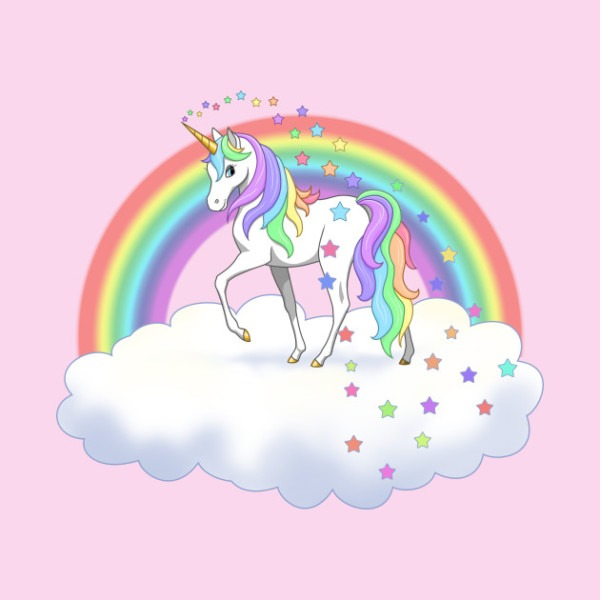 Pretty Rainbow Unicorn And Stars
