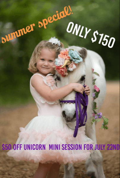 Promotional Summer Special On Unicorn Photo Shoot