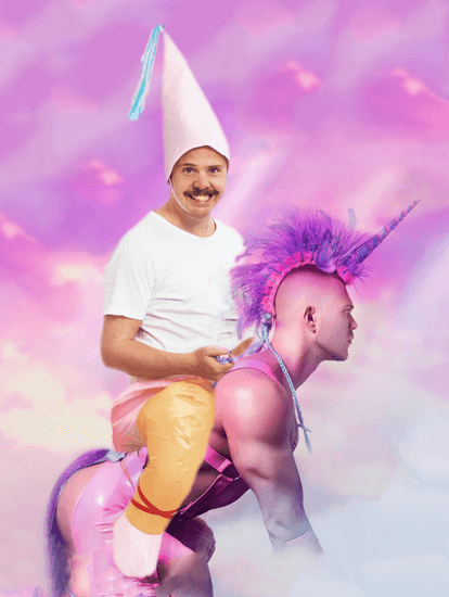 Psbattle  This Guy Modeling A New Unicorn Costume At Work