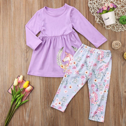 Pudcoco Cute Toddler Baby Kids Girls Unicorn Clothing Sets Top