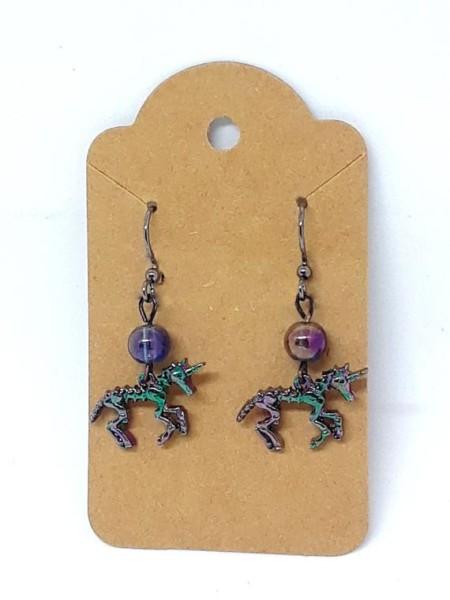 Rainbow Iridescent Unicorn Skeleton Earrings
