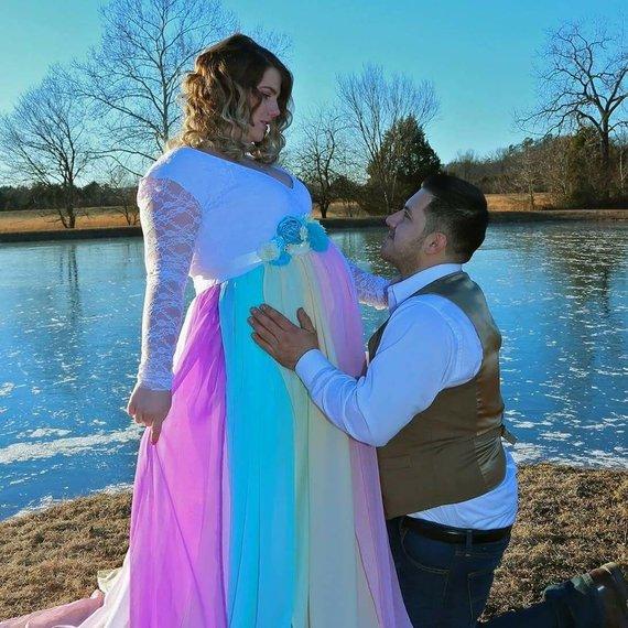 Rainbow Maternity Gown Unicorn Maternity Dress
