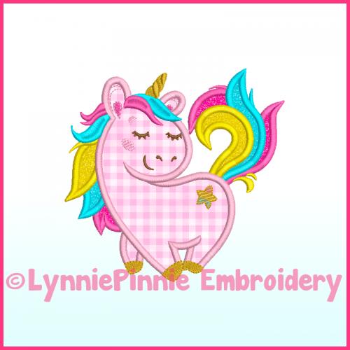 Rainbow Unicorn Applique Machine Embroidery Design 4x4 5x7 6x10