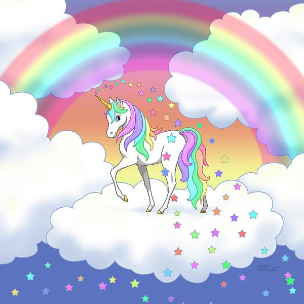 Rainbow Unicorn Clouds And Stars Poster By Crista Forest