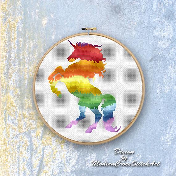 Rainbow Unicorn Cross Stitch Pattern Modern Cross Stitch