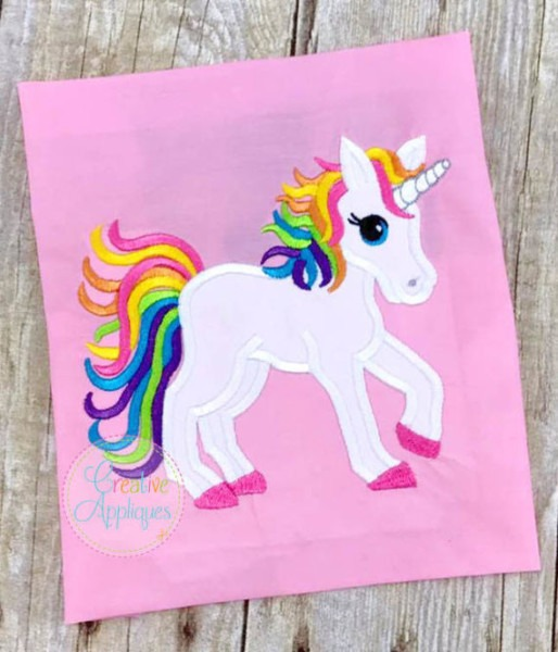 Rainbow Unicorn Digital Machine Embroidery Applique Design 4 Sizes