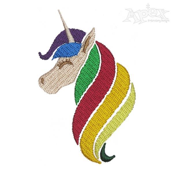 Rainbow Unicorn Embroidery Design
