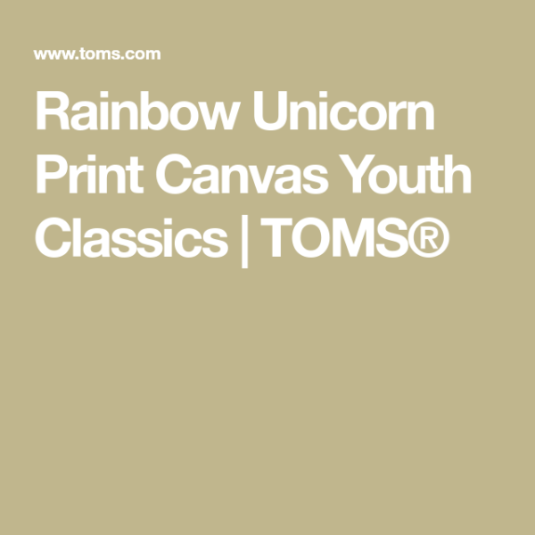 Rainbow Unicorn Print Canvas Youth Classics