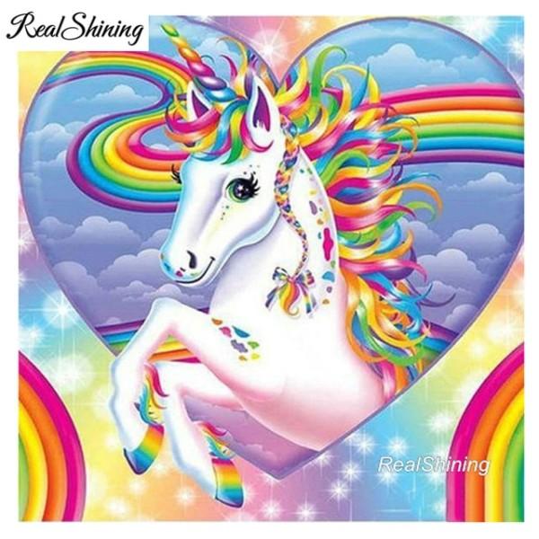 Realshining 5d Diy Diamond Embroidery Rainbow Unicorn Diamond