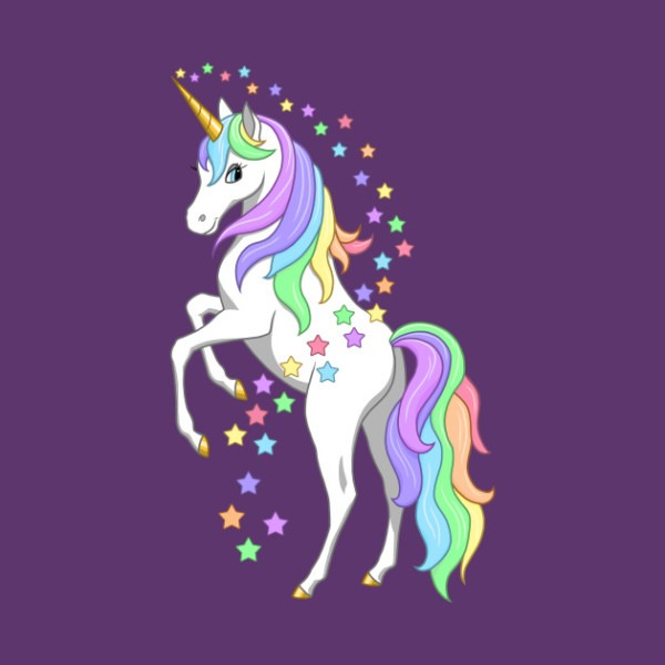 Rearing Rainbow Unicorn And Stars