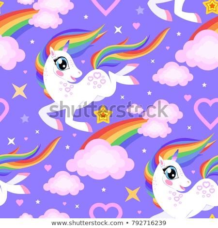 Seamless Pattern Cartoon Unicorn Rainbow Fabric Stock Vector