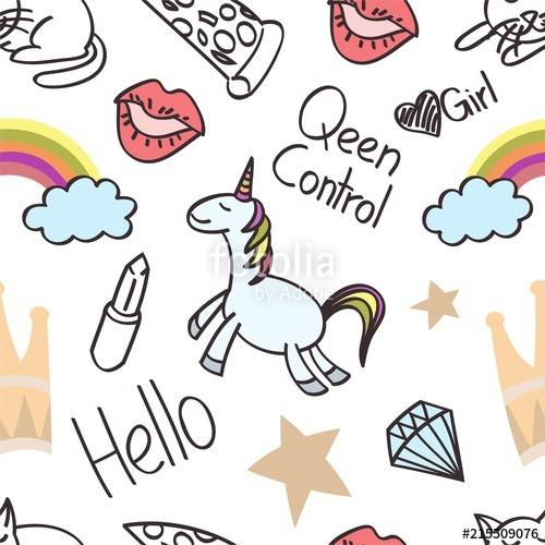 Seamless Unicorn Cartoon, Wallpaper, Doodle, Art  Stock Image And