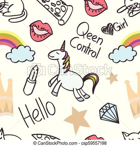 Seamless Unicorn Cartoon, Wallpaper, Doodle, Art, Cartoon, Card