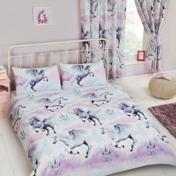 Stardust Unicorn Double Duvet Cover Set Bedding Girls Teal And