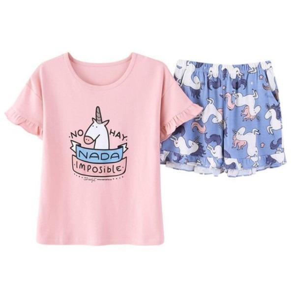 Summer Women Two Pieces Pajamas Cartoon Unicorn Animal Print