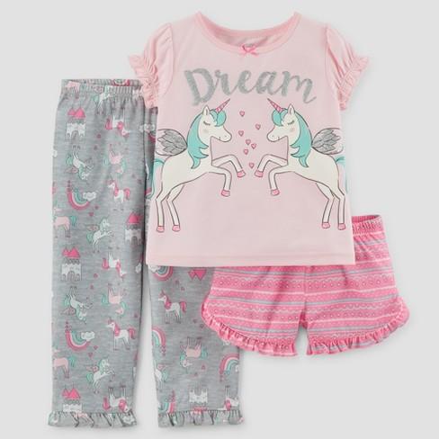 Toddler Girls' 3pc Short Sleeve Dream Unicorn Pajama Set