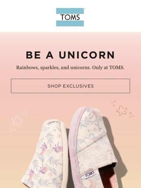 Toms Surprise Sale  Selling Fast! Unicorn Classics 🦄 🌈