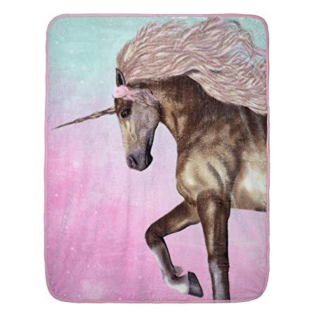 Uarehome Unicorn Mink Throw Blanket Bedding Double Soft Warm