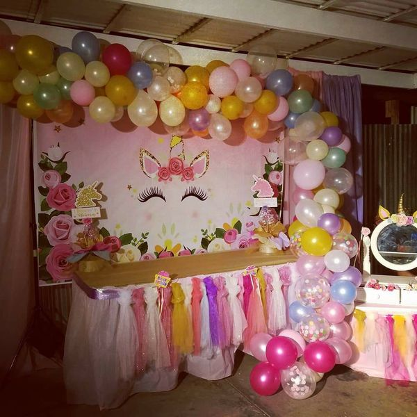 Unicorn Backdrop For Candy Table,ballons Decoration Treat Bags