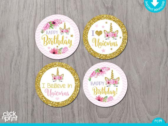 Unicorn Birthday Cupcake Toppers Print Yourself, Printable Party