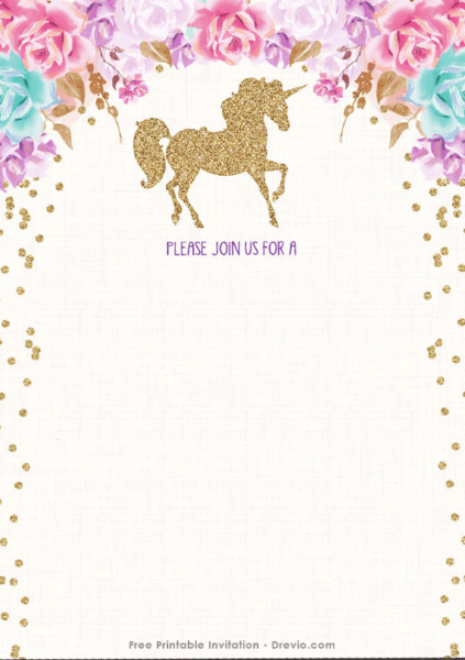 Unicorn Birthday Invitation Blank