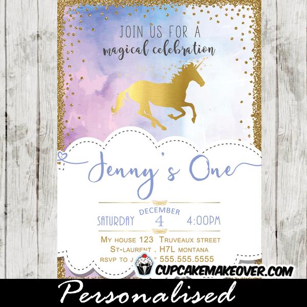 Unicorn Birthday Invitations, Elegant Gold Foil Pastel Hues
