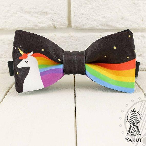 Unicorn Bow Tie Rainbow Bowtie Multicolored Men's Bow