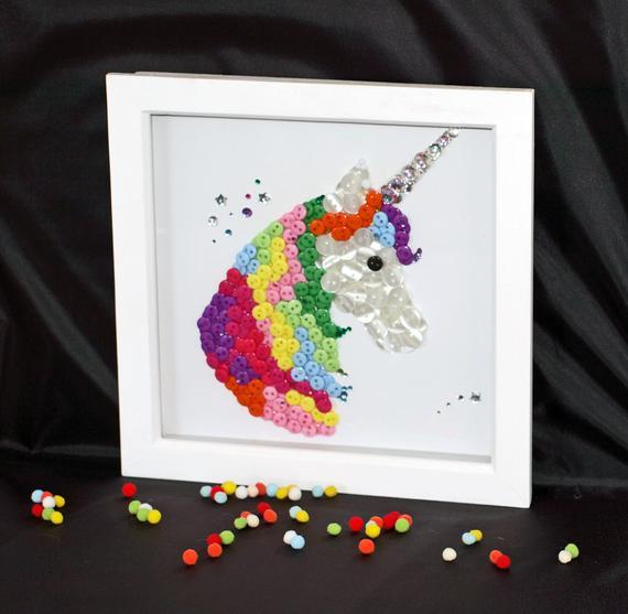 Unicorn Button Art Framed Button Art Button Art Unicorn