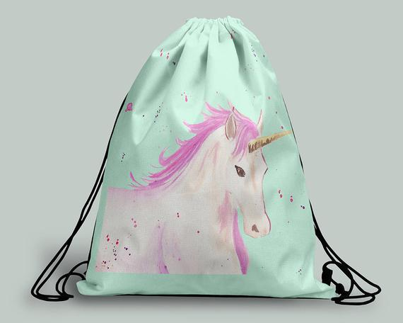 Unicorn Drawstring Bag Unicorn Gym Bag Unicorn Backpack