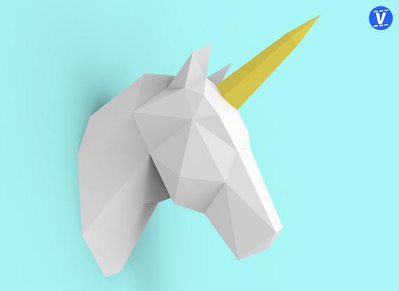 Unicorn Head Papercraft Pdf Pack 3d Paper Sculpture Template