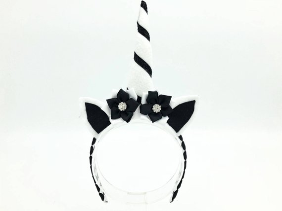 Unicorn Headband Black & White Unicorn Horn Unicorn Costume